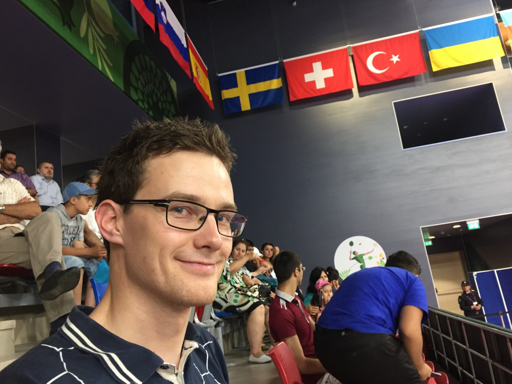 Magne på tribuneplass i Baku Sports Hall